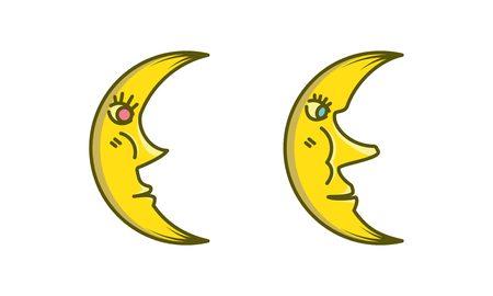 boy and girl yellow moon vector illustration. Illustration