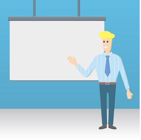 businessman presenting illustration. white blank board.