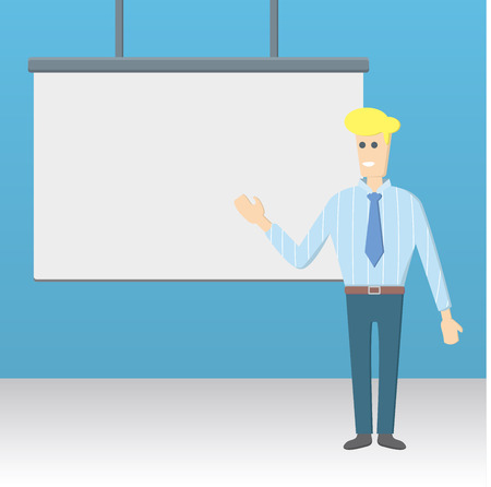 presenter: businessman presenting illustration. white blank board.