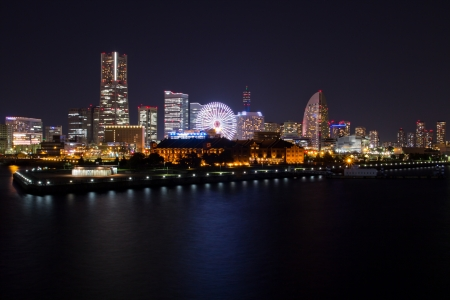 Yokohama city at night photo