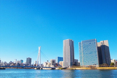 sumida ku: The city view of Shinkawa area with Chuo Ohashi bridge in Tokyo  Japan