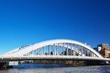 sumida ku: TOKYO-JAN 12: View of Eitai Bridge on Jan 12, 2015 in Tokyo, Japan. The bridge has been designated as a national important cultural property in 2007. Editorial