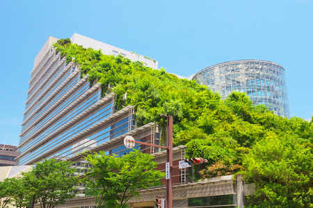 green city: FUKUOKA, JAPAN-JUL 09: View of Acros Fukuoka on Jul 09, 2015 in Fukuoka, Japan. Acros Fukuoka is the eco-building and landmark of Fukuoka that has a green roof.