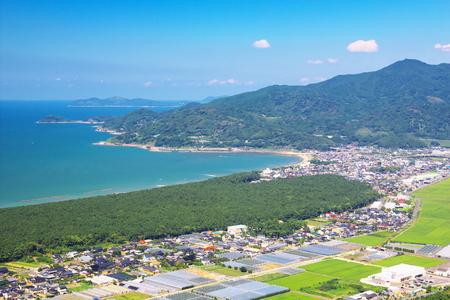 saga: The view of Karatsu City with Nijinomatsubara, Saga, Japan Stock Photo