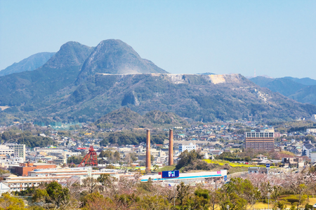 TAGAWA, JAPAN-MAR 26: View of Tagawa City on Mar 26, 2016 in Tagawa, Japan. Tagawa once flourished as a coal mine city.