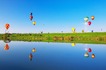 SAGA, JAPAN-NOV 03: SAGA International Balloon Fiesta , Hot air balloons flying in the blue sky.