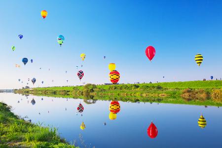SAGA, JAPAN-NOV 03: SAGA International Balloon Fiesta , Hot air balloons starting their flight. Editorial
