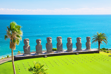 NICHINAN, JAPAN - NOV 25: Moai statues on Nov 25, 2016 in Nichinan, Japan. They are the only statues in the world which were replicated with the permission from the municipality of Easter Island.