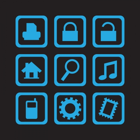 simple blue icons collection 01 Vector