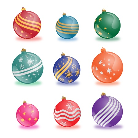 christmas balls collection on white background photo