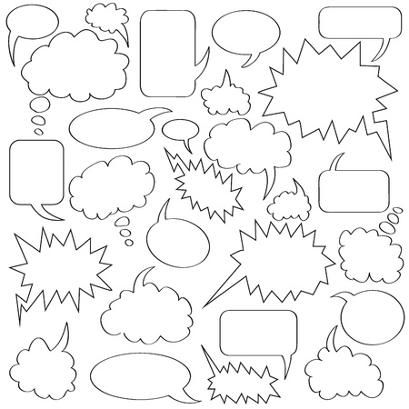 voice message: comics bubble collection white and black border