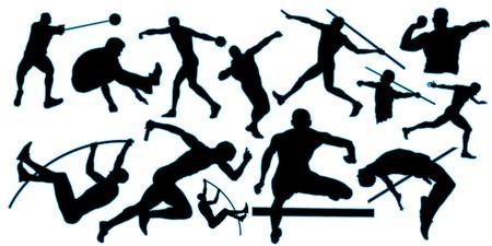 lanzamiento de bala: todos silueta atlética con borde azul Foto de archivo