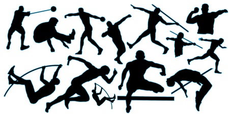 plan éloigné: toutes silhouette athlétique avec bordure bleue