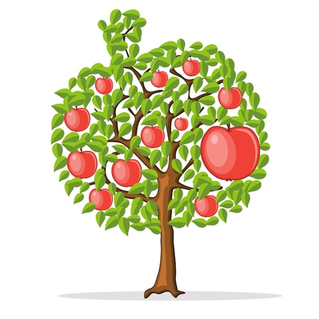 apple isolated: apple tree with red apples Illustration