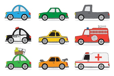 funny car icon set op witte achtergrond