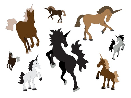 unicorns collection natural colors on white background Vector