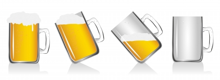draft beer: set of 4 glass beer on white