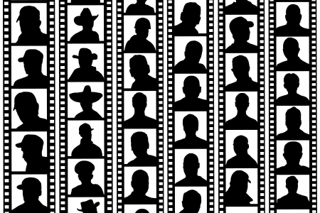 unknown gender: black and white background portraits film strips Illustration