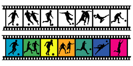 14 black soccer silhouette on color and bw filmstrip Vector