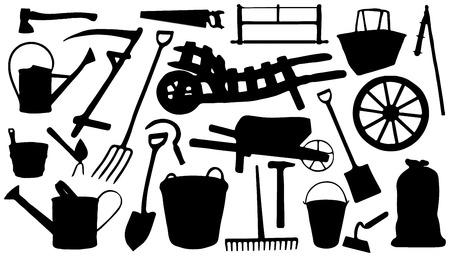 ewer: twenty four farm tools silhouettes on the white background