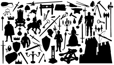 sixty medieval silhouettes on the white background Иллюстрация