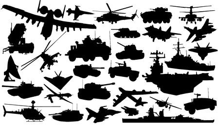 military technology silhouettes on the white background Ilustração