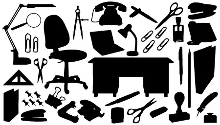 office tools silhouettes on the white background Vector