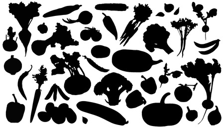 vegetables silhouettes on the white background Vettoriali