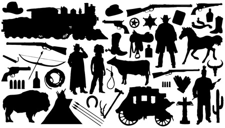 western silhouettes on the white background Vector