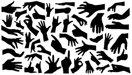forty-five hand silhouettes on the white background Illustration