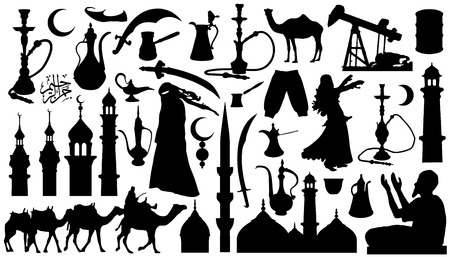 caravan: arabian silhouettes on the white background Illustration