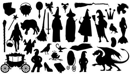 siluetas de animales: siluetas de cuento de hadas en el fondo blanco Vectores