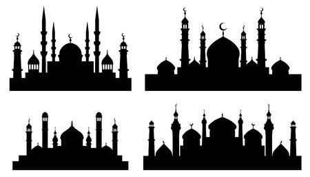 mujeres orando: siluetas de la mezquita en el fondo blanco