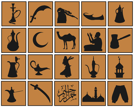 black arabian icons on the color background Vector