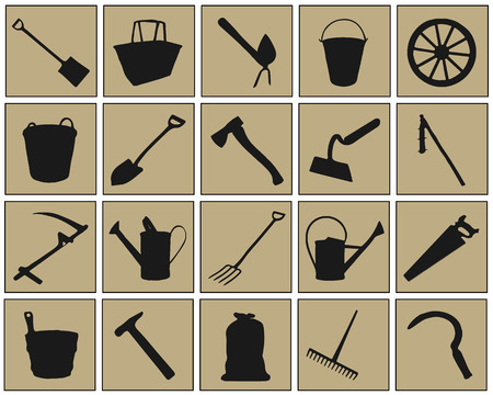 black farm tool icons on the color background Vector