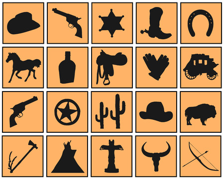 black western icons on the color background Vector