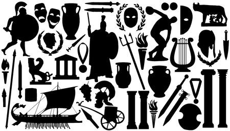 白い背景の上の古代のシルエット  イラスト・ベクター素材