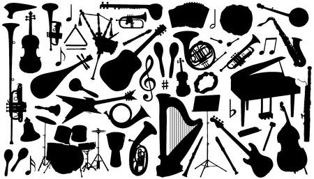 siluetas de instrumentos musicales en el fondo blanco