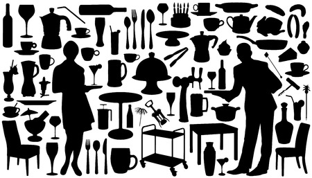 restaurant silhouettes on the white background Vector