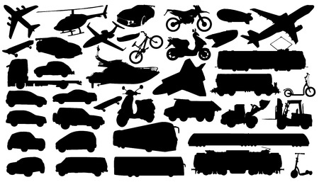 transport silhouettes on the white background Vector