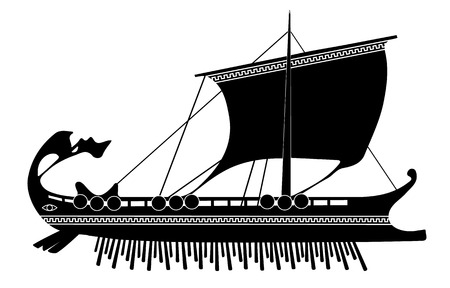archaeology: trireme silhouettes on the white background
