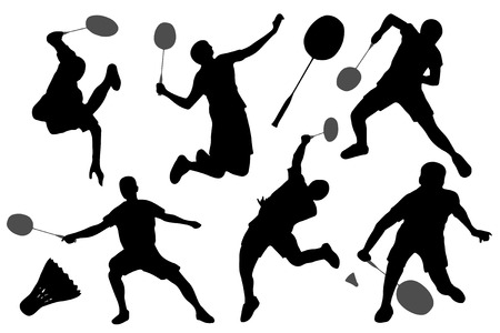badminton silhouettes on the white background Çizim