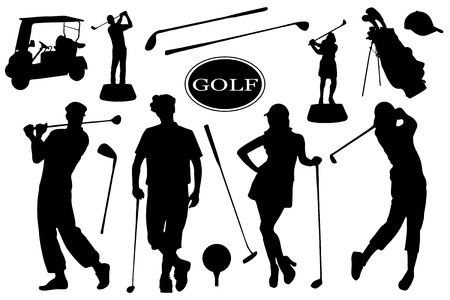 golf silhouettes on the white background
