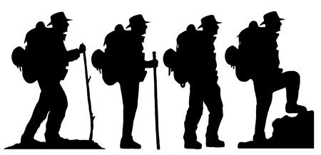 turista: escursionista sagome su fondo bianco Vettoriali