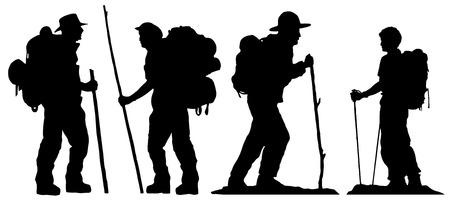 turista: silhuetas caminhante no fundo branco Ilustra��o