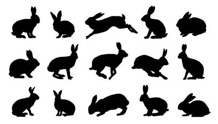 konijn silhouetten op de witte achtergrond Stock Illustratie