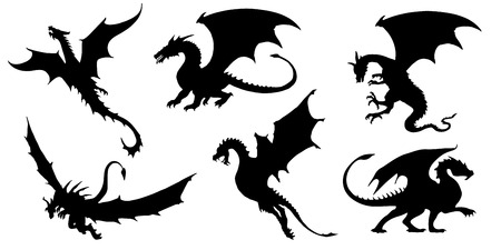 voador: silhuetas de drag�o no fundo branco Ilustra��o
