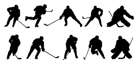 hockey goal: hockey player silhouettes on the white background