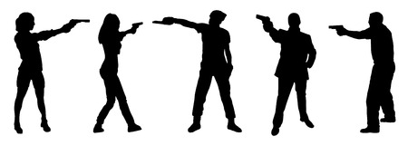 hombre disparando: tiro de pistola en el fondo blanco Vectores