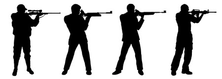 hombre disparando: disparar fusil en el fondo blanco Vectores